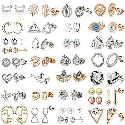 32 Pairs Assorted Stainless Steel Stud Earrings for Teens Girls Women-Cute Animal Faux Pearl Cat Elephant Sun Moon Star CZ Twise Heart Geometric Pattern Small Statement Bar Stud Earring Set