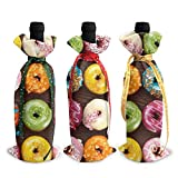 3pcs sacs de bouteille de vin, délicieux sac fourre-tout de Noël Donut pour mariage, cadeaux de fête, fournitures de fête de Noël, de vacances et de vin