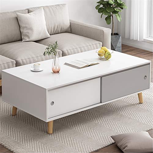 JTRHD Mesas de café Mesa de Centro de Sala de Estar con 2 cajones TV Mesa de Oficina Rectangular para Muebles de salón de Oficina (Color : Blanco, Size : 100X48X43cm)