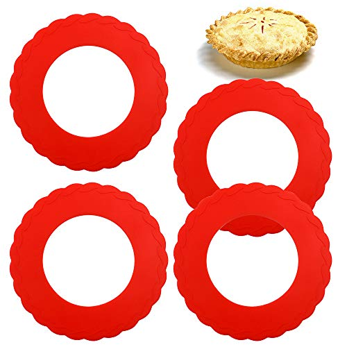 WYBG 4 Pcs Mini Pie Crust Shields Silicone Pie Pan Shield for Baking Mini Pie Crust Protector 4 to 6 in Red