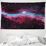 ABAKUHAUS Rosa Wandteppich & Tagesdecke, Outer Space Stars Galaxy, aus Weiches Mikrofaser Stoff Wand Dekoration Für Schlafzimmer, 230 x 140 cm, Magenta & Schwarz