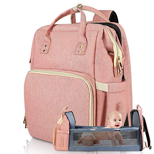 Diaper Bag Backpack Travel Bassinet Foldable Mummy Bag with Changing Pad & Stroller Straps, Large Capacity, Waterproof (Pink)