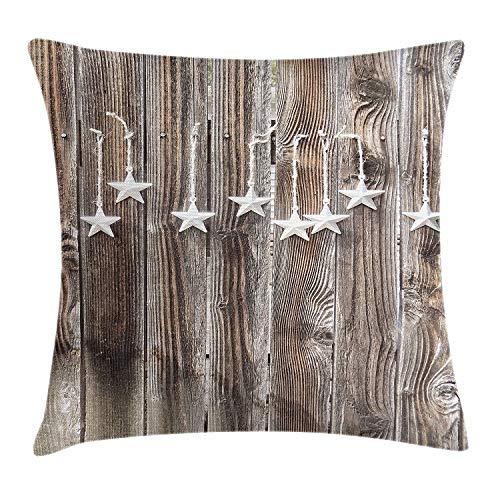 Primitive Country Kissenbezug, silberfarben, verzierte Sterne auf Holz, rustikaler Zaun-Druck, dekorativ, quadratisch, 45,7 x 45,7 cm, Braun/Silber
