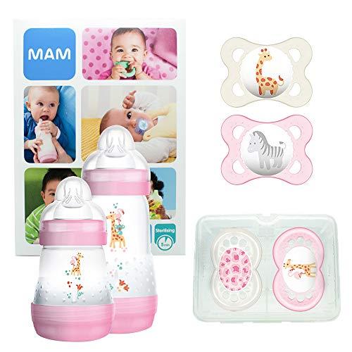 MAM First Steps Set, Regalo per neonato, Set di biberon con 2x Easy Start biberon anticolica 160/260 ml, 4x Original ciuccio in silicone (2x 0-6 mesi e 2x 6+ mesi), Bimba