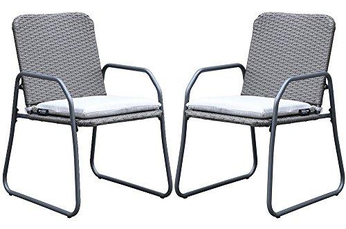 Westfield Outdoors Barite Twin Rattan Effect Juego de sillas de jardín al Aire Libre, Acero, Gris Oscuro/Blanco, Grande
