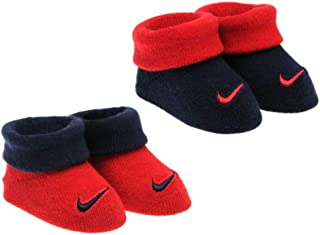 Nike Newborn Infant Booties 2-Pair Pack (0-6 Months, Gym Red)
