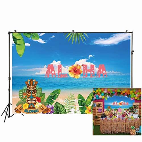 NIVIUS FOTO 7x5ft Aloha Luau Feestachtergrond Zomer Tropische Hawaiiaanse Beach Tiki Masker Bloem Fotografie Achtergrond Zee Palm Bloemen Verjaardag Baby Douche Taart Tafel Decoratie W-2018