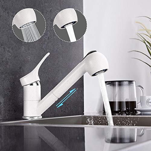 Küchenarmatur, Dalmo 360° Drehbar Wasserhahn Küche, Einhand-Spültischbatterie mit herausziehbarer Spülbrause, 2 Strahlarten, Anti Fingerabdruck, Mattweißes Keramikoberfläche, moderne Spültischarmatur