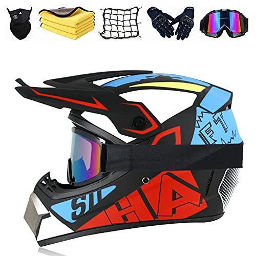JYYT Casco De Motocross Set, Casco De Protección ATV, Casco Downhill, De Cara...