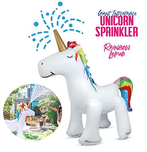Rainbow Lemon Giant Inflatable Unicorn Sprinkler