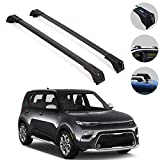 OMAC Roof Racks Lockable Cross Bars Carrier Cargo Racks Rail Aluminium Black Set 2 Pcs. for Kia Soul X-Line 2020-2021