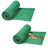 HERCOCCI 2 Pack Reptile Carpet, 39'' x 20'' Terrarium Bedding Substrate Liner Reptile Cage Mat Supplies for Bearded Dragon Lizard Tortoise Leopard Gecko Snake (Green)