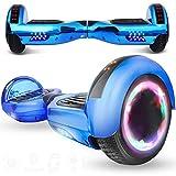 Magic Vida Hoverboard Tout Terrain - 6,5' - Bluetooth - Moteur 700 W - Vitesse 15 km/h - LED - Skateboard Électrique Pas Cher Auto-équilibrée - pour Enfants et Adultes (Bleu Chromé)