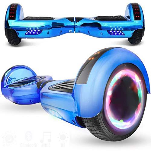 Magic Vida Overboard 6.5 Pouces Bluetooth Puissance 700W avec Deux Barres LED Gyropode Pas Cher Auto-Équilibrage de Bonne qualité pour Enfants et Adultes(Bleu Chromé)