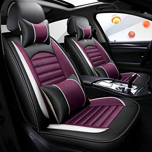 GSHWJS 4-seizoenen autostoelovertrek, compatibel met airbag-stoelhoezen voor en achter, 5 stoelen van linnen, universeel kussen