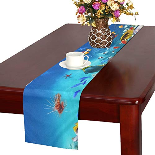 JEOLVP Wunderschöne Unterwasserwelt Korallen tropischen Tischläufer, Küche Esstisch Läufer 16 X 72 Zoll für Dinnerpartys, Veranstaltungen, Dekor