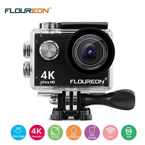 FLOUREON Bullet Cam 4K Camera WiFi Sport Cam Impermeabile Ultra HD 16MP 170° Grandangolare con 2 Batterie, Accessori Kit