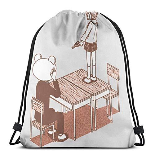 Nichijou - Tachibana Revolver mit dem Ziel auf Sasahara beim Stehen auf dem Schreibtisch Kordelzug Rucksack Gym Sack Pack Solid Cinch Pack Sinch Sack Sport String Bag