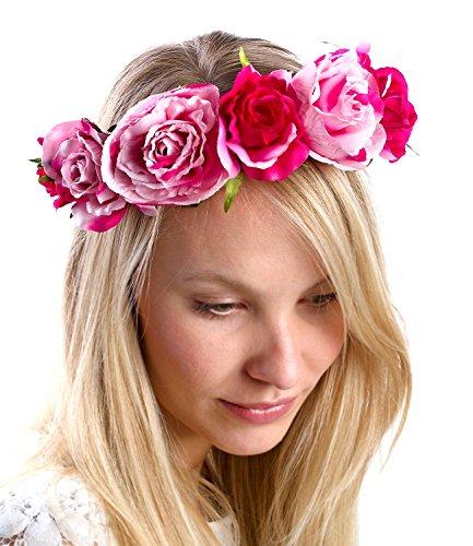 SIX Blumenkranz Haarschmuck: Metall-Haarreif mit bunten Rosen, dekorativer Blumen-Kranz mit Textil-Blüten ideal zum Dirndl, für JGA,Hochzeit (315-372)