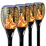 T-mark Solar Lights Outdoor, Waterproof Flickering Lights Torches Lights Outdoor Solar Spotlights Landscape Decoration Lighting Dusk to Dawn Auto On/Off Security Torch Light for Patio Driveway, 4 Pack