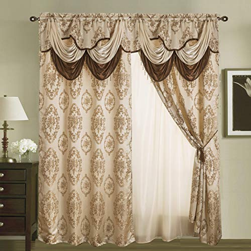 """Rod Pocket Jacquard Window 95 Inch Length Curtain Drape Panels w/ Attached Valance + Sheer Backing + 2 Tassels - 95"""" Floral Curtain Drape Set for Living & Dining Rooms, Heavy, (Layla, 95"""", Beige)"""