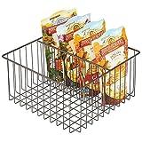 mDesign Caja multiusos de metal – Práctica cesta de almacenaje con 2...