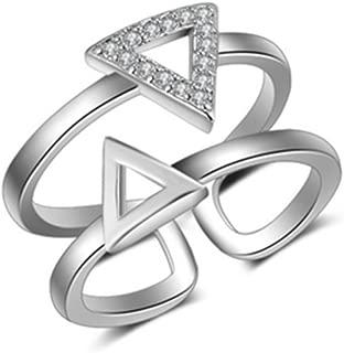Croix Double Cœur Forme anneau 14K or Blanc FN 925 Sterling Argent Brillant
