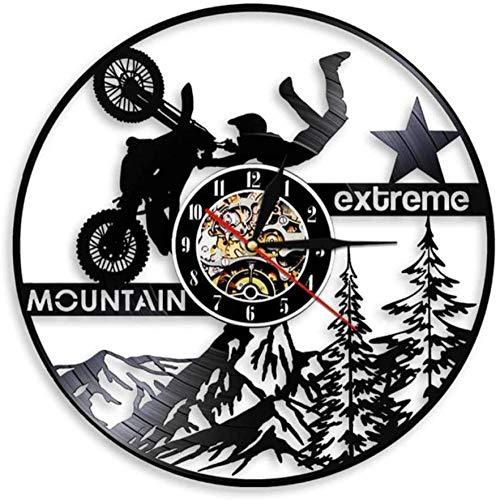 wttian Reloj de Pared de Bicicleta de montaña de Motocross Reloj de Pared de Disco de Vinilo de Motocicleta Extrema Decoración de Bicicleta de Tierra