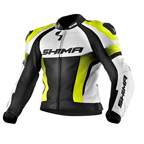 SHIMA STR JACKET YELLOW FLUO, Lederkombi Motorradbekleidung Zweiteiler Motorradkombi Motorradanzug, Gelbe fluo