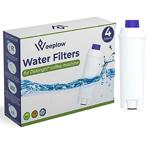 Weeplow - 4 Filtri per l'acqua DLSC002 per le macchine da caffè Delonghi, compatibile con DeLonghi Magnifica, Dinamica, Autentica, PrimaDonna e tutte le serie ECAM, ESAM, ETAM, BCO, EC (set di 4)