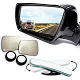 Zone Tech Blind Spot Adjustable Square Mirrors - 2-Pack Premium Quality Square Blind Spot Mirror Adjustable Stick-On Exterior Side Mirror for All Cars Motorcycles Trucks Snowmobiles