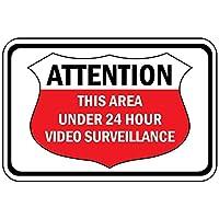 Attention This Area Under 24 Hour Video Surveillance ティンサイン ポスター ン サイン プレート ブリキ看板 ホーム バーために