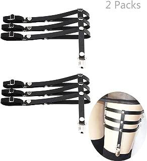 Viesky Womens Elastische Anti-Rutsch-Bein Strumpfband Oberschenkel Hohe Strumpfhalter Mit Clip