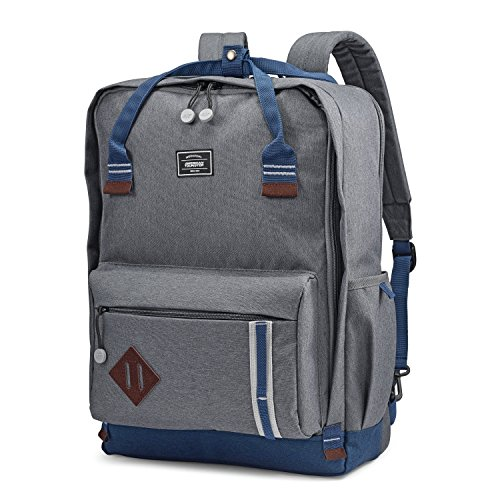 American Tourister Cooper Backpack, Grey/Navy, 18-Inch