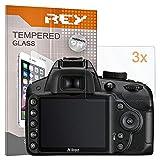 REY 3X Protector de Pantalla para Nikon D3100 - D3200 - D3300 - D3400 - D3500, Cristal Vidrio Templado Premium