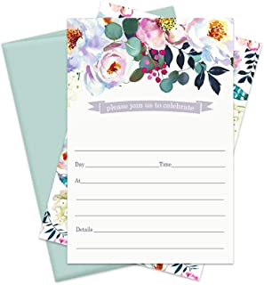 Bright Floral Party Invitations and Envelopes (15 Pack) All Occasions