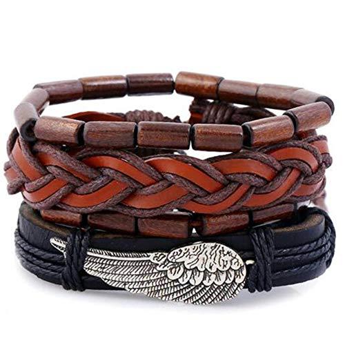 ASIG Vintage Multilayer Lederen Armband Voor Mannen Mode Gevlochten Handgemaakte Touw Wrap Kraal Bedel Geweven Armbanden Man