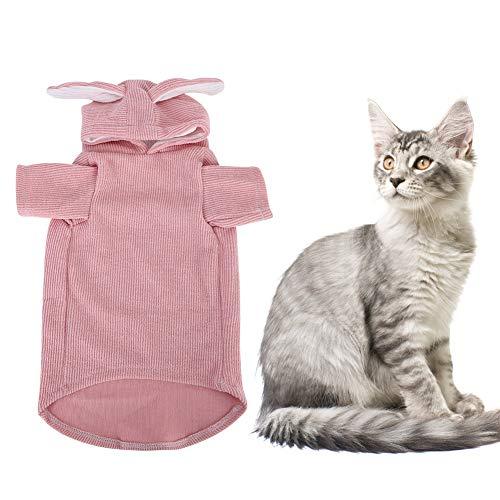 GOTOTOP Disfraces de Gato, Ropa con Forma de Oreja de Conejo Abrigos cálidos de Invierno Diseño con Capucha para Gatos y Perros pequeños(S-Rosado)