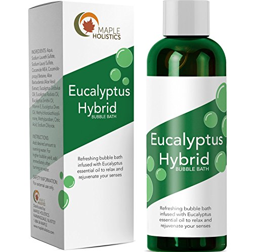 Eucalyptus Essential Oil Bubble Bath - Aromatherapy Essential Oils Bath Set for Natural Anxiety Relief + Aloe Vera and Vitamin E for Skin Care - Stress Relief Bath Oil with Relaxing Essential Oils