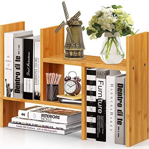 Estantería de Bambú Natural para Escritorio, Estante de Escritorio Ajustable, Organizador de Escritorio de oficina, Estante Multifuncional de Pipshell para Suministros de Oficina, Hogar, Baño y Cocina