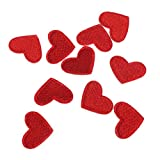 N/A. Juego de 10 parches de bordado con diseño de corazón rojo, para manualidades, para coser o planchar en ropa, camiseta, vaqueros, chaqueta, decoración