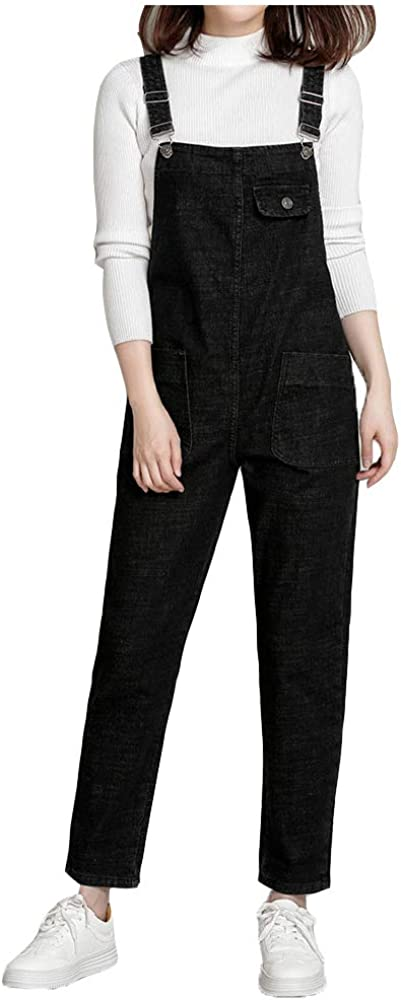 Lghxlxry Women's Casual Denim Bib Overalls Tapered Leg Harem Jeans Jumpsuit Rompers with Pocket