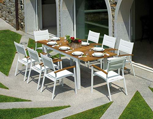 Gruppo Maruccia Set Tavolo e Sedie per Esterni Set Pranzo da Giardino 8 posti in Legno Teak e Alluminio Bianco Arredamento per Giardini