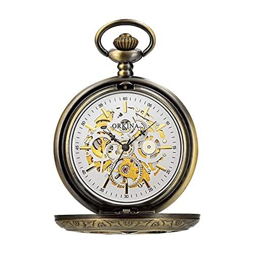 Reloj de bolsillo elegante clásico.Reloj de bolsillo con cadena, vintage clásico grande de Cambia de Cambia Tallada mecánica, como Día del Padre / Eleder Regalo / Aniversario Relojes para hombre ,Punk