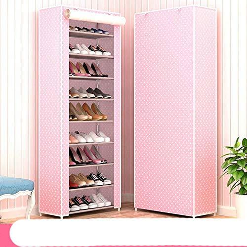 10 capas de tela no tejida zapatero DIY Asamblea almacenamiento zapatos gabinete de pie a prueba de polvo casa zapatos organizador Shlef re-Pink Dots