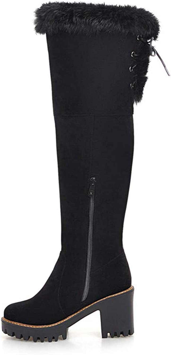 GEORPE Woman Platform High Heels shoes Keep Warm Over The Knee Boots