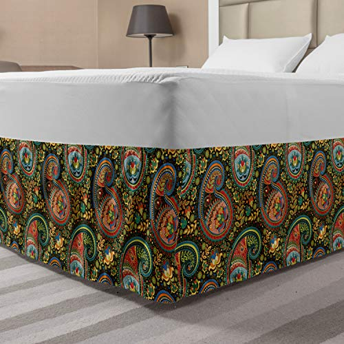 Lunarable Paisley Bedskirt, Vibrant Colored Floral Elements in Iranian Teardrop with a Curve Motif Ancestral, Bedroom Decor Wrap Around Elastic Bed Skirt Gathered Design, Queen, Multicolor