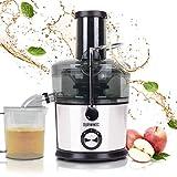 Duronic JE7C Centrifuga per frutta e verdura 800 W – Largo tubo di inserimento 85 mm per frutta intera - 2 velocità - contenitore polpa e caraffa per succhi – Per gustosi succhi di frutta o verdura