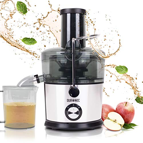 Duronic JE7C Zentrifugaler Entsafter für Obst und Gemüse | elektrisch | Entsafter | Juicer | Edelstahl | Große Einfüllöffnung | 2 Geschwindigkeiten | 800 Watt | Anti-Tropf | 1L Saftbehälter | BPA-Frei