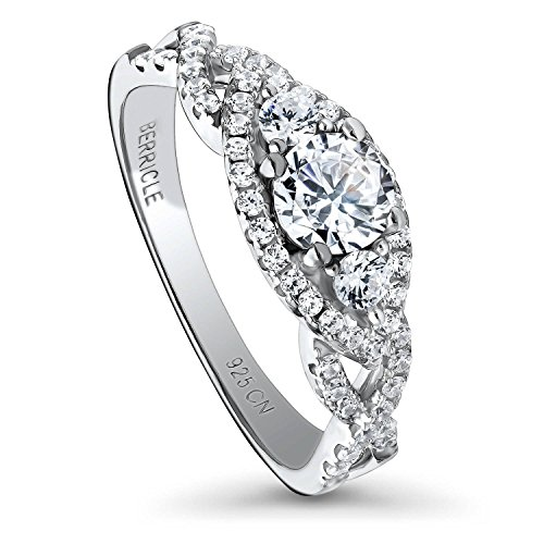 BERRICLE Rhodium Plated Sterling Silver 3-Stone Woven Promise Engagement Ring Made with Swarovski Zirconia Round 0.92 CTW Size 7